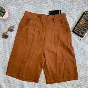 NWT Nasty Gal Tan Longline Shorts